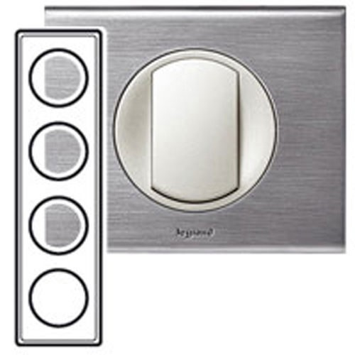Legrand c liane plaque m tal 4 postes 71mm inox bross for Plaque inox prix