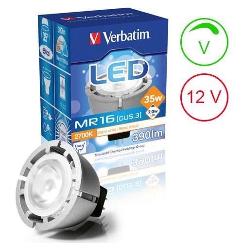 verbatim ampoule led gu5 3 7w 390lm 12v intensit variable. Black Bedroom Furniture Sets. Home Design Ideas
