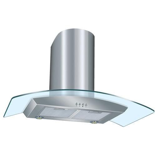 DMO Hotte décorative de cuisine en verre cintré 90 cm 700m³/h inox