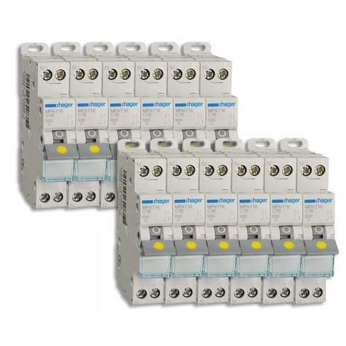HAGER Lot de 12 disjoncteurs électriques à borne à vis 16A - MFN716