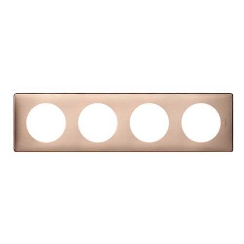 LEGRAND Céliane Plaque Métal 4 postes Copper - 068994
