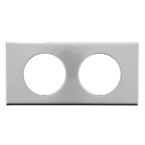 plaque m tal legrand c liane double inox bross 069102. Black Bedroom Furniture Sets. Home Design Ideas