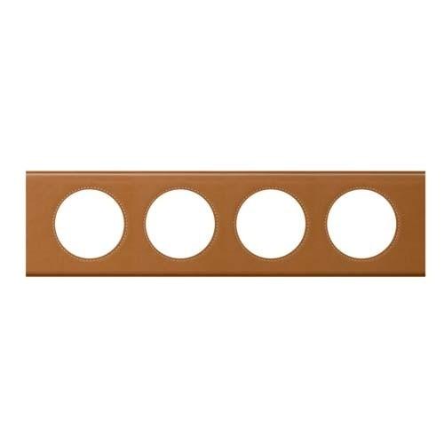 LEGRAND Céliane Plaque Matières 4 postes Cuir caramel - 069424