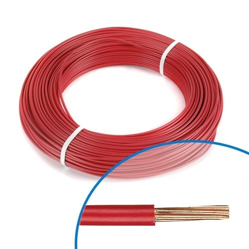 Fil électrique rigide HO7VR 6² rouge - Couronne de 100m