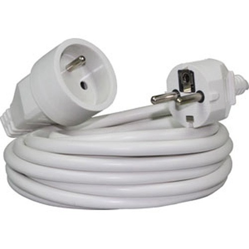 Rallonge électrique NF 3X1,5mm² blanc 5m