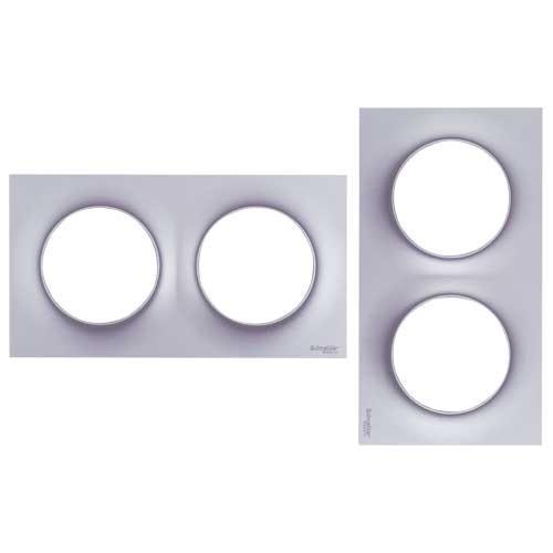 schneider odace plaque double alu s520704e. Black Bedroom Furniture Sets. Home Design Ideas