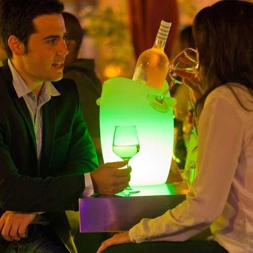 Seau à champagne lumineux à LED multicolore sans fil étanche - 2