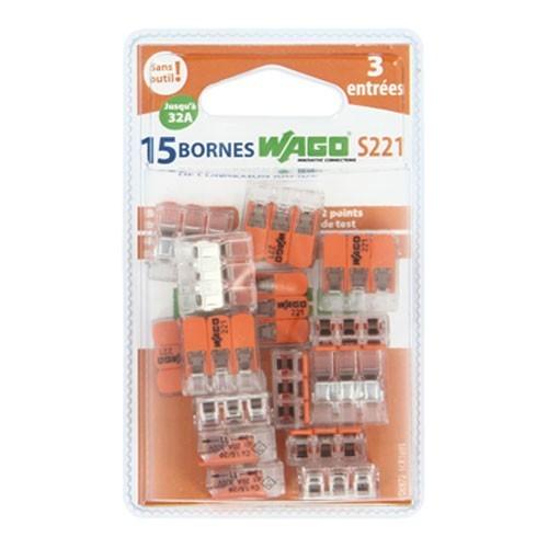 wago s221 15 mini bornes de connexion 3 fils pour fils. Black Bedroom Furniture Sets. Home Design Ideas