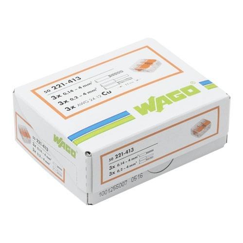 wago s221 50 mini bornes de connexion 3 fils pour fils. Black Bedroom Furniture Sets. Home Design Ideas