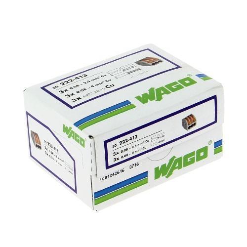 wago s222 50 bornes de connexion 3 fils pour fils souples et rigides. Black Bedroom Furniture Sets. Home Design Ideas