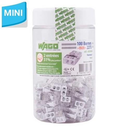 WAGO Pot de 100 mini-bornes de connexion 2 fils S2273