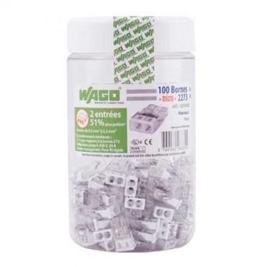 WAGO Pot de 100 mini-bornes de connexion 2 fils S2273 - 2