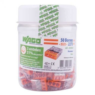 WAGO Flacon de 50 mini-bornes de connexion 3 fils S2273 - 1