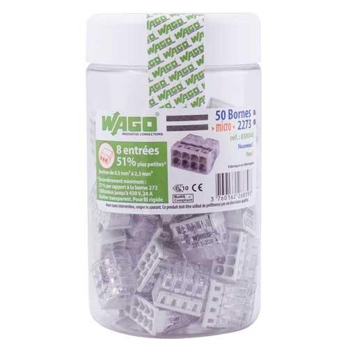 WAGO Pot de 50 mini-bornes de connexion 8 fils S2273 - 2