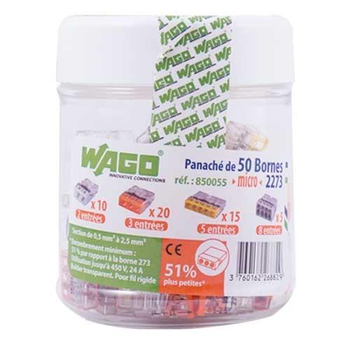 WAGO Panaché de 50 mini-bornes de connexion 2, 3, 5,et 8 fils S2273 - 2