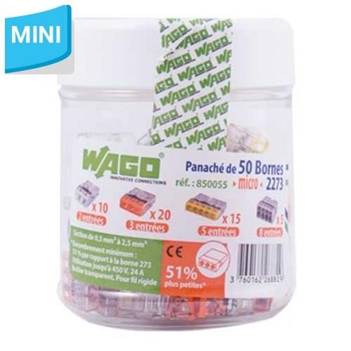 WAGO Panaché de 50 mini-bornes de connexion 2, 3, 5,et 8 fils S2273
