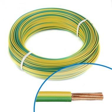 Fil électrique rigide HO7VR 6² vert / jaune - Couronne de 100m