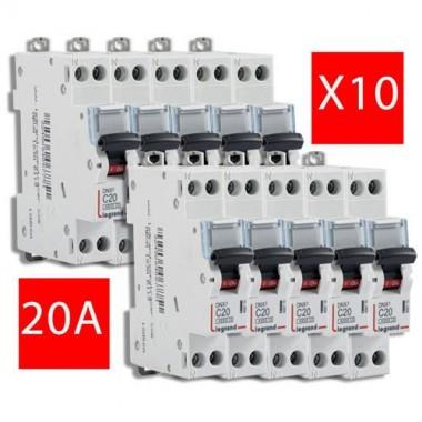 LEGRAND Lot de 10 disjoncteurs électriques DNX3-20A