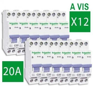 SCHNEIDER XP Lot de 12 disjoncteurs électriques D'clic 20A - 20727