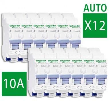 SCHNEIDER XE Lot de 12 disjoncteurs électriques AUTO D'clic 10A - 16725