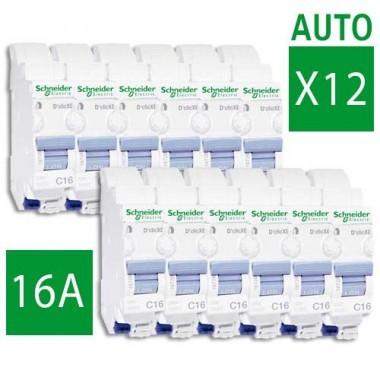 SCHNEIDER XE Lot de 12 disjoncteurs électriques bornes AUTO D'clic 16A - 16726