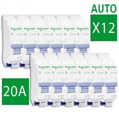 SCHNEIDER XE Lot de 12 disjoncteurs électriques bornes AUTO D'clic 20A - 16727
