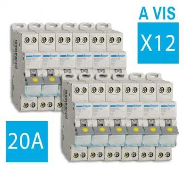 HAGER Lot de 12 disjoncteurs électriques à borne à vis 20A - MFN720