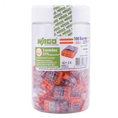 WAGO Pot de 100 mini-bornes de connexion 3 fils S2273