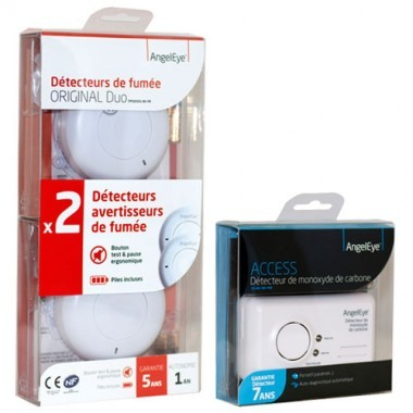 ANGELEYE Lot de 2 détecteurs de fumée + 1 détecteur de monoxyde de carbone