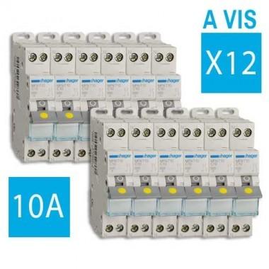 HAGER Lot de 12 disjoncteurs 10A à borne à vis - MFN710