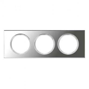LEGRAND Céliane Plaque Matières 3 postes Verre miroir - 069123