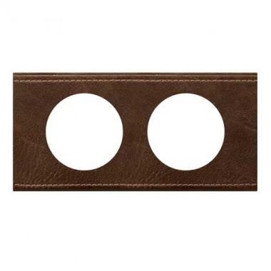 LEGRAND Céliane Plaque Matières 2 postes Verre cuir brun - 069402