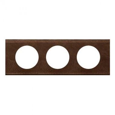 LEGRAND Céliane Plaque Matières 3 postes Verre cuir brun - 069403