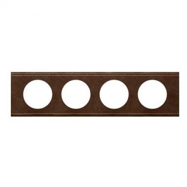 LEGRAND Céliane Plaque Matières 4 postes Verre cuir brun - 069404