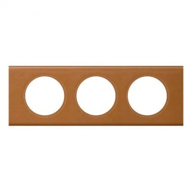 LEGRAND Céliane Plaque Matières 3 postes Cuir caramel - 069423