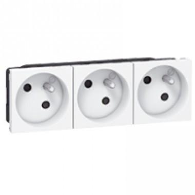 triple prise de courant 2p t legrand mosaic blanc 077143. Black Bedroom Furniture Sets. Home Design Ideas