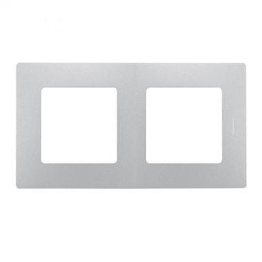 LEGRAND Niloé Plaque double 2 postes Argent - 096715