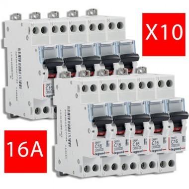 LEGRAND Lot de 10 disjoncteurs électriques DNX3-16A