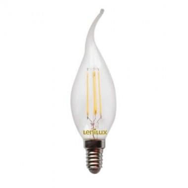 Ampoule LED filament E14 4W 410lm 230V Flamme coup de vent