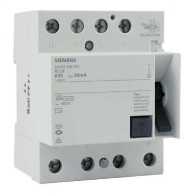 SIEMENS Interrupteur différentiel tétrapolaire 63A 30mA type AC