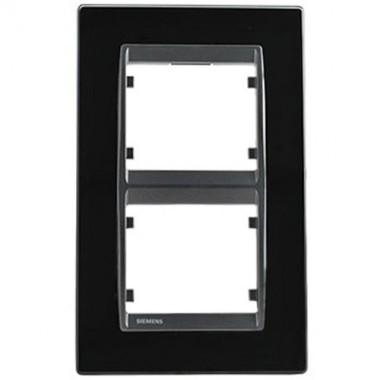 SIEMENS Delta Iris Plaque double verticale en verre noir