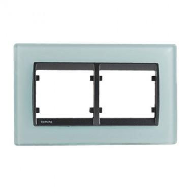 SIEMENS Delta Iris Plaque double horizontale en verre bleu