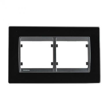 SIEMENS Delta Iris Plaque double horizontale en verre noir