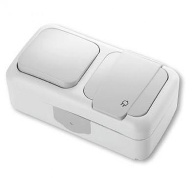 interrupteur va et vient et prise de courant viko tanches complet 840615. Black Bedroom Furniture Sets. Home Design Ideas