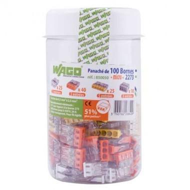 WAGO Flacon de 100 mini-bornes de connexion 2, 3, 5,et 8 fils S2273 - 2