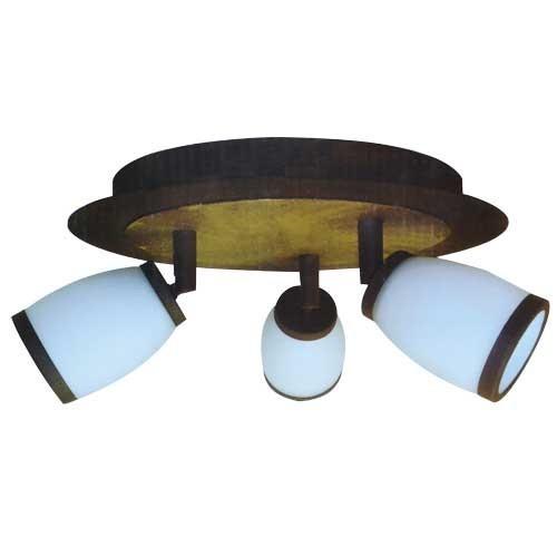 plafonnier 3 spots orientables 40w verre acide blanc finition laiton rouill. Black Bedroom Furniture Sets. Home Design Ideas