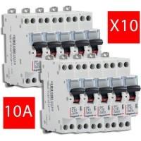 LEGRAND Lot de 10 disjoncteurs électriques DNX3-10A