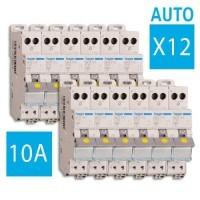 HAGER Lot de 12 disjoncteurs électriques AUTO 10A - MFS710