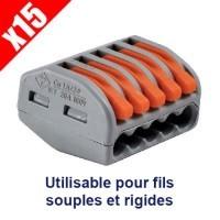 WAGO 15 bornes automatiques fils souples et rigides 5x2.5² S222