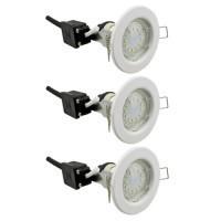 EASYLIGHT Lot de 3 spots LED encastrables 230V 3x3W 230lm 3000°K blanc